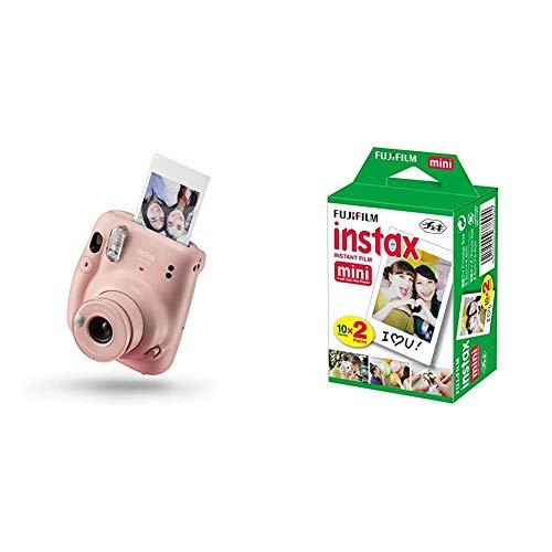 instax Mini 11 - Cámara instantánea, Blush Pink + Fujifilm instax Mini Brillo - Pack de 40 Películas Fotográficas Instantáneas (40 Hojas), Color Blanco