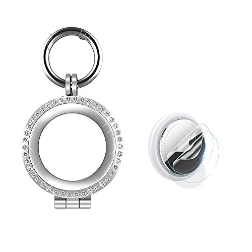 Soporte de metal para rastreador de diamantes para Airtag, marco de cristal, funda protectora antipérdidas con protector de pantalla para AirTag Finder (plateado)