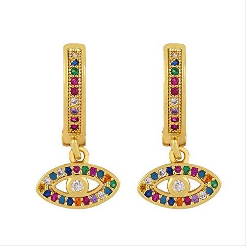 Colorful Zircon Butterfly Evil Eye Drop Earrings Gold Color Dangle Earrings For Women Girls Fashion Jewelry