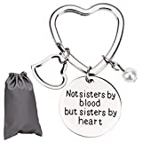 AIEX Best Friends Gifts Keychain Friendship Gifts for Women, Friends, Girls Stainless Steel Keychain with Heart Key Ring,a Little Pearl and a Gift Bag