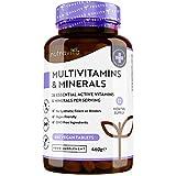 Multivitaminas y Minerales - 365 Comprimidos Veganos - Complejo Vitaminico con 26 Activos Esenciales Vitamina D3, C, A, B, E, Yodo, Selenio, Calcio, Hierro, Zinc - Multivitamínicos para Hombre y Mujer