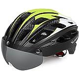 VICTGAOL Casco Bicicleta Helmet Bici Ciclismo para Adulto con Luz Trasera LED Visera Extraíble Hombres Mujeres Adultos de Bicicleta para Montar (Amarillo Negro)