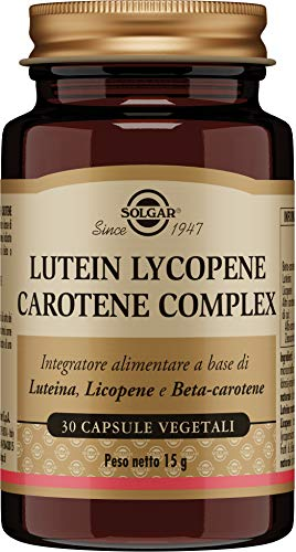 Solgar Lutein Lycopene Carotene Complex, 30 Vegetable Capsules - Supports Healthy Vision - Natural Antioxidant - Non-GMO, Vegan, Gluten Free, Dairy Free - 30 Servings