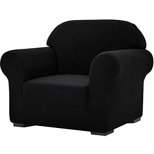 subrtex Stretch-Sofabezug, 1 Stück, für Wohnzimmer, Sessel, weiche Möbel, waschbar, Couch, Schonbezüge für Kinder/Hunde (Stuhl, schwarz)