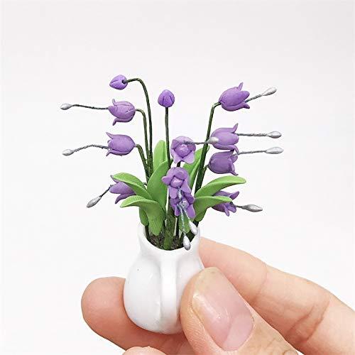YOPDNE Mini patrón de Flores Botella de Porcelana Blanca decoración de Escena de jardín de Lirio de los Valles púrpura