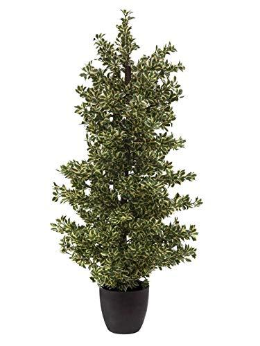 artplants.de Set 'Ficus benjamina Falso + Spray de protección UV' - Ficus Artificial Nevio, Tronco Artificial, con Maceta, Verde-Blanco, 120cm