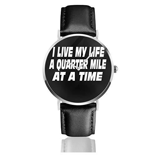 The Fast and The Furious Quote I Live My Life A Quarter Mile at A Time Classic Casual Fashion Orologio al quarzo in acciaio inox cinturino in pelle