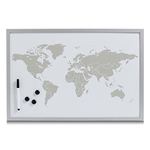 Zeller 11573 Magnet-/Schreibtafel 'World', alugrau, ca. 60 x 40 cm