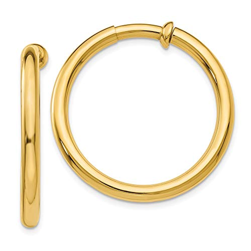 14k Yellow Gold Non Pierced Clip On Hoop Earrings Ear Hoops Set Fine Jewellery For Women Mothers Day Gifts For Her