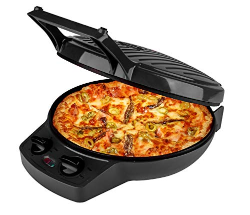 Courant Pizza Maker, 12 Inch Pizza Cooker and Calzone Maker, with Timer &Temperatures control, 1440 Watts Pizza Oven convert to Electric indoor Grill, Black