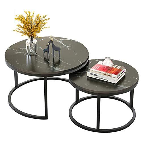 LIYIN Satztische, 2er-Set, runder Schreibtisch aus MDF-Material für Wohnzimmer oder Lounge,Schwarz