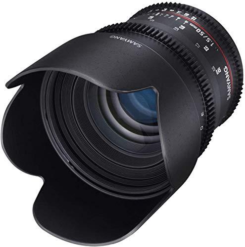 Samyang F1311101101 - Objetivo para vídeo VDSLR para Canon EF (Distancia Focal Fija 50mm, Apertura T1.5-22 AS UMC, diámetro Filtro: 77mm), Negro