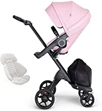 Stokke Xplory V6 Black Chassis Stroller with Black Leatherette Handle, Lotus Pink with Seat Inlay, Grey