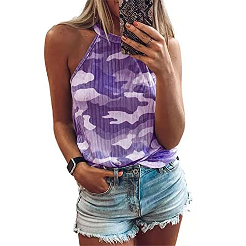 Blusa Mujer Tendencia Moda Verano Halter Diseño Mujer T-Shirt Chic Sexy Camuflaje Sin Mangas Diseño Diario Casual Ligero Cómodo Transpirable All-Match Camisola Mujer Tops G-Purple S