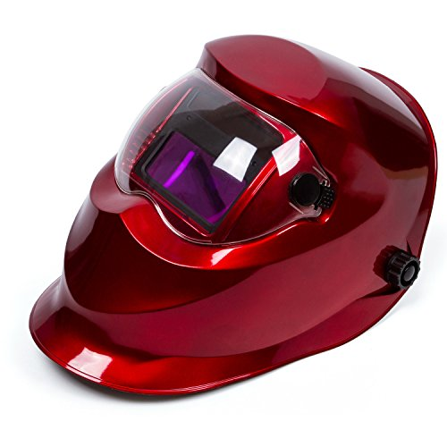 "Red Solar Power Auto Darkening Welding Helmet Large View (3.66"" X 1.69"") ARC TIG MIG Welding Hood Mask"