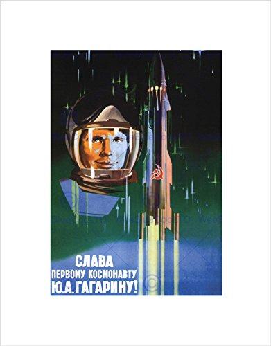 Wee Blue Coo Propaganda Gagarin Cosmonaut Rocket Space USSR Black Framed Art Print B12X4469