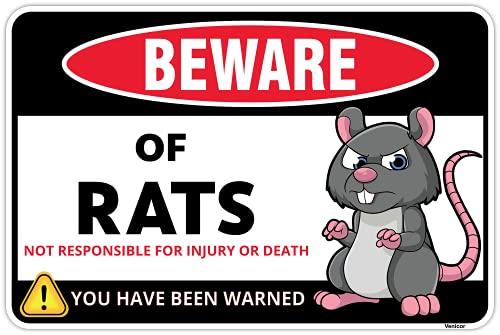 Venicor Beware of Rat Sign - 8 x 12 Inches - Aluminum - Rat Cage Accessories - Rat Gifts for Rat Mouse Lovers - Pet Rat Toys Hammock Habitats Food Bedding Costume Carrier Fake Plush Wheel Treats