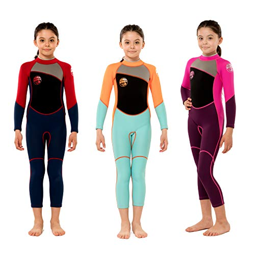 Scubadonkey 2.5mm Neoprene Full Wetsuit for Kids 2020 (Red/Blue, 6)