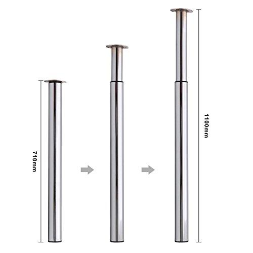 MultiWare Ø60 mm Tischbein Höhenverstellbar Tischfuß Polierter Chrom Verstellbar Teleskopfuß Metall Schreibtischbein Tragkraft 50 kg