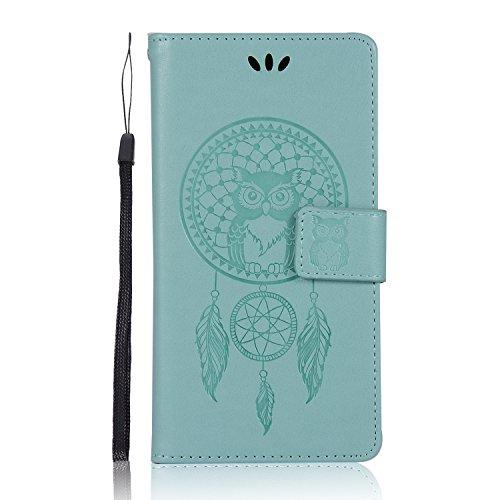 Sunrive Hülle Für Huawei Honor 6C Pro / V9 Play, Magnetisch Schaltfläche Ledertasche Schutzhülle Hülle Handyhülle Schalen Handy Tasche Lederhülle(Grün Eule)