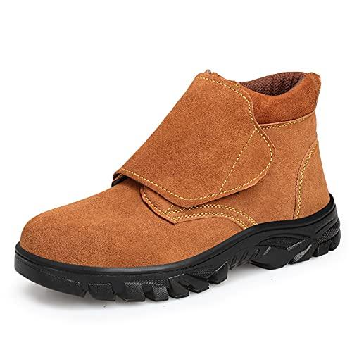 Zapatos de trabajo Botas de los tobillos de cuero de los niños para el soldador - Cap de punta de acero y zapatos de trabajo de metal Missole de acero - Resistente al calor Proyector de seguridad Prof