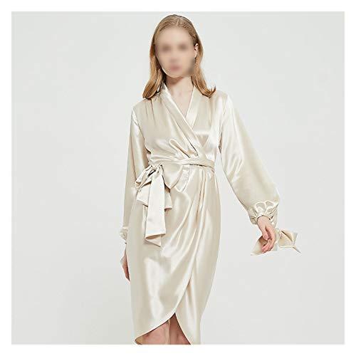 zyy Francés Retro Tri-Acetato Tela de satén Nightgown Nupcial mañana Traje de baño Servicio de baño Servicio de casa Textura Suave túnica Exterior (Color : Champagne, Size : M)