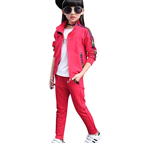 SXSHUN Mädchen Jogginganzug Kinder Sportanzug Trainingsanzug 2tlg Bekleidungsset Sweatjacke + Jogginghose, Rot, 134/140 (Etikettengröße:140)