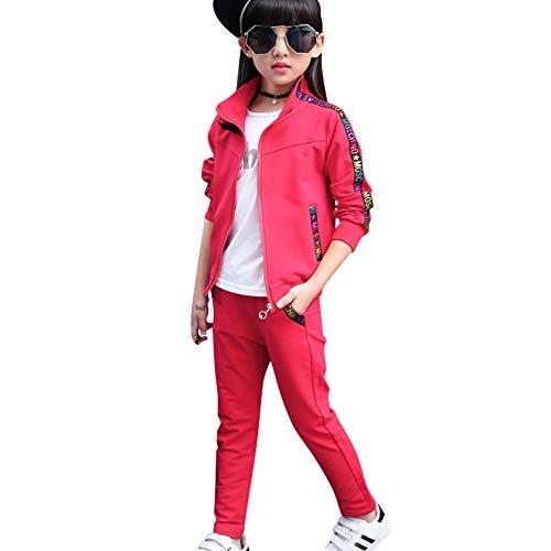 SXSHUN Mädchen Jogginganzug Kinder Sportanzug Trainingsanzug 2tlg Bekleidungsset Sweatjacke + Jogginghose, Rot, 122/128 (Etikettengröße:130)
