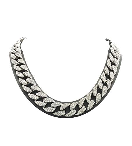 Mens Iced Out Hip Hop Silver tone CZ Miami Cuban Link Chain Choker Necklace (16 )