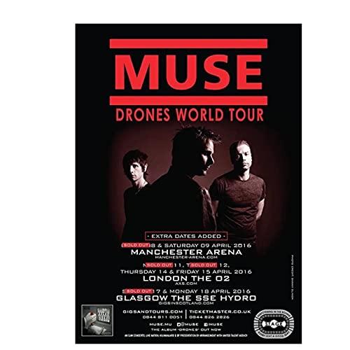 Sanguolun Poster da Parete Decorativo Muse Drones 2016 UK World Arena Tour Poster e Stampe Poster Wall Art Pictures for Living Room Decor 60x90cm