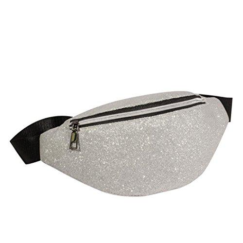 VJGOAL Damen Bauchtasche, Damen Mode Bling Pailletten Zip Party Strand Schulter Messenger Cross Chest Bag Clutch (Silber)