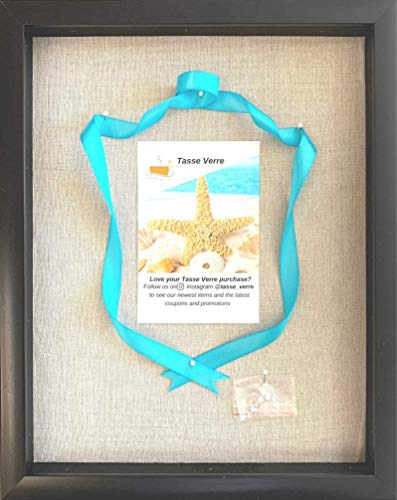 Tasse Verre 12x15 Shadow Box Display 3D Frame with Linen Background and 8 Stick Pins - Black Large...