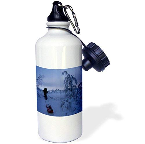 ANGELA G Kerst Winter scènes op Kjolihytta, slee in de sneeuw Sport Water Fles, 21 oz, Wit RVS Waterfles