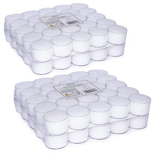 pajoma Teelichte unbeduftet 100 Stück, Brenndauer: 8 Std. in Plastikschale, Teelichter Gastro