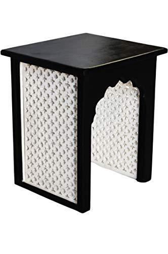 Marokkanischer Vintage Beistelltisch Hocker aus Holz ISRA Schwarz Weiß 45cm   Orientalischer eckiger Tisch Blumenhocker klein für Wohnzimmer oder Küche   Orientalische Beistelltische als Dekoration