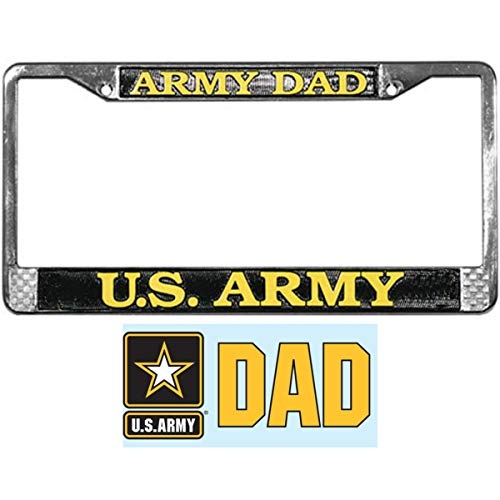 Butler Online Stores Army DAD License Plate Frame Gift Bundle with Army Dad Decal