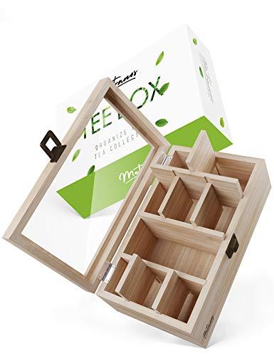 Metranos® Teebox (28x16x9 cm) - Teekiste aus Bambus mit luftdichtem Verschluss - 9 verstellbare Fächer und Deckel aus hochwertigem Glas - Der Perfekte Ort für deine Tee Aufbewahrung - Tee Box