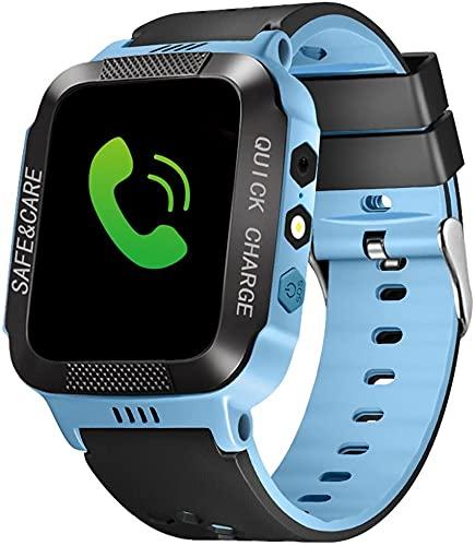 Bluetooth Smartwatch Touchscreen Armbanduhr mit Kamera/SIM Wasserdichtes Telefon Smart Watch Sport Fitness Tracker Mädchen Jungen Smart Uhren mit Kinder Handgelenk Kinder Geschenke (Schwarz Blau)