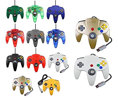 2 Controller Für Nintendo 64 N64 Farbe nach Wahl Kabelgebunden Gamepad Joypad (Gold/Weiß)