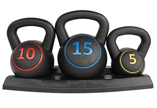 KL KLB Sport Wide Grip 3-Piece HDPE Kettlebell Exercise Fitness Weight Set, Include 5 lbs, 10 lbs, 15 lbs Weights Kettlebells with Base Rack for Home Gym and Workouts