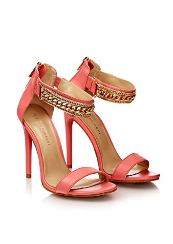 Forever Unique - Totem - Coral Peep Toe Leather Shoes with Detailed Strap UK6 EU39