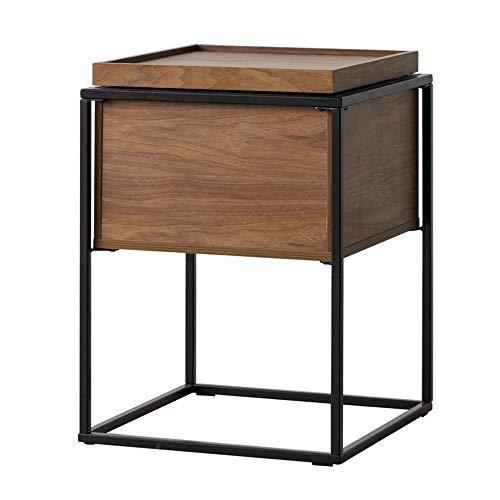 Quskto salontafel, vierkant, van hout, industrieel, nachtstand-tafel, bijzettafel, gemakkelijk te reinigen en te monteren