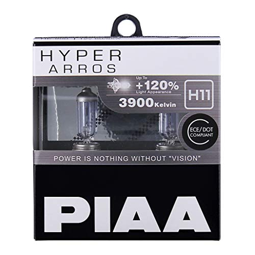 PIAA Hyper Arros H11 Car Replacement Headlights Bulbs +120% (Twin Pack) HE906