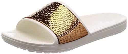 crocs Damen Sloane Metaltext Slide W Dusch- & Badeschuhe, Braun (Bronze/Oyster 81f), 41/42 EU