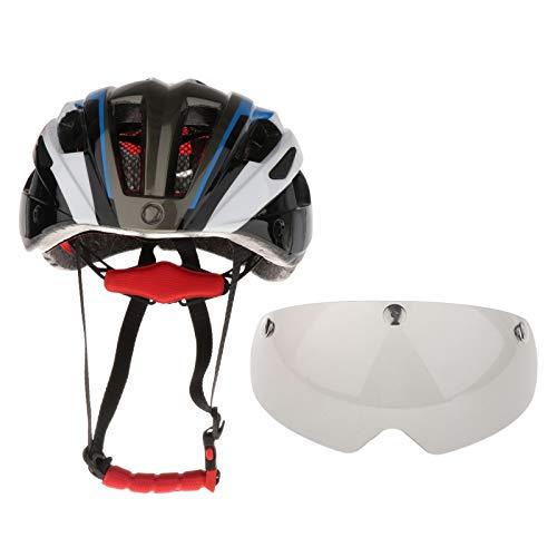 F Fityle Casco Ligero Ajustable para Bicicleta, Transpirable para Mujeres, Hombres, MTB, Bicicleta de Carretera, Seguridad, Sombrero con Gafas Magnéticas Extra - Azul, 55 hasta 62cm
