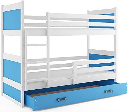 Interbeds Hochbett Etagenbett RICO 190x80cm Farbe: WEIβ + 2. Farbe zur Wahl mit Lattenroste, Schublade und Matratzen (blau)