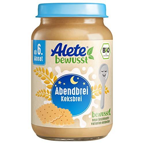 Alete Bio Gläschen Abendbrei Keksbrei, Babynahrung in Bio-Qualität, ohne Palmöl & Aromastoffe, ab dem 6. Monat, 6er Pack (6 x 190 g)