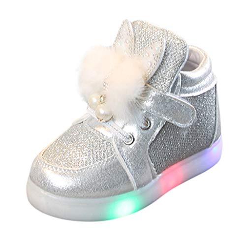 Riou Calzado Infantil Bebé Zapatos Luces Niños Niñas Dibujos Animados Conejo LED...