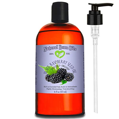 16oz Black Raspberry Seed Oil, 100% Pure and Natural, Cold-Pressed, Unrefined, Organic, for Healthy Skin and Hair - Includes Pump & Flip Cap