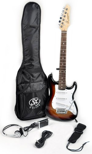 SX RST 1/2 3TS 1/2 Size Short Scale Sunburst Guitar Package with Amp, and Carry Bag